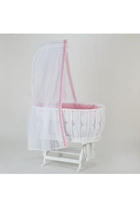 Babycom Beyaz Ahşap Sepet Beşik ve Pembe Puanlı Uyku Seti