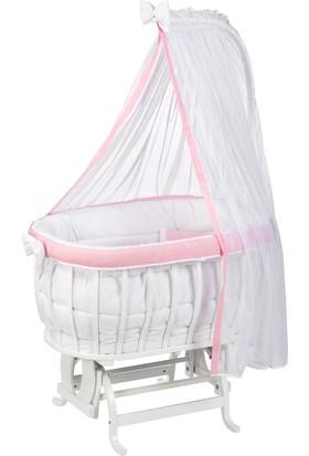 Babycom Beyaz Ahşap Sepet Beşik ve Pembe Lüks Uyku seti