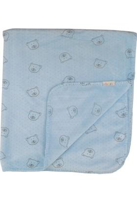 Eke Baby Desenli Mavi Bebek Angora Battaniye