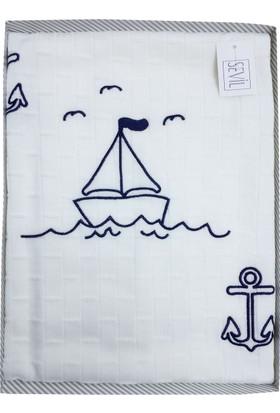 Sevil Triko Beyaz Gemi Desenli Bebek Battaniye
