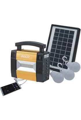 Xolo Güneş Enerjili 3 Lambalı Fenerli Elektrikli Seyyar Işıldak Led Lamba Seti Powerbank Kamp Seti Piknik