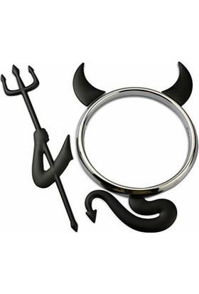 Solfera Şeytan Devil Siyah Renk Etiket Otomobil Logo Stıckerı Cs050