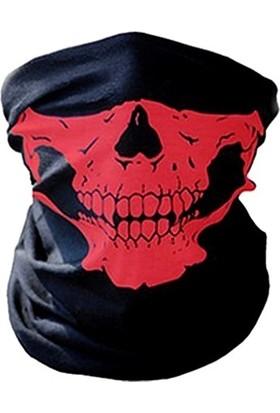 Solfera Kırmızı Kurukafa Çok Amaçlı Boru Bandana Buff Maske Bd010