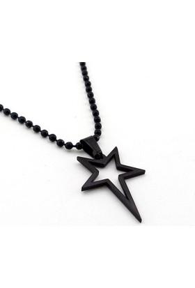 Solfera Siyah Yıldız Star Paslanmaz Çelik Erkek Kolye K935