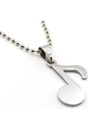 Solfera Nota İşareti Müzik Gümüş Renk Çelik Erkek Kolye K943