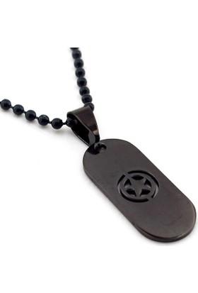 Solfera Army Star Ordu Askeri Yıldız Siyah Erkek Çelik Kolye K949