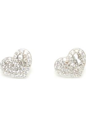 Nusret Takı 925 Ayar Gümüş Kalp Anahtar Deliği Modeli Küpe, Beyaz