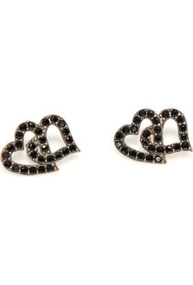 Nusret Takı 925 Ayar Gümüş Çift Kalp Küpe Pembe - Siyah Taş