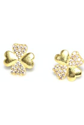 Nusret Takı 925 Ayar Gümüş Yonca Kalp Küpe, Sarı - Beyaz Taş