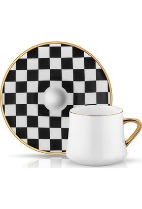 Koleksiyon Sufı Çay Fincan Set 6'Lı Dama Siyah Beyaz