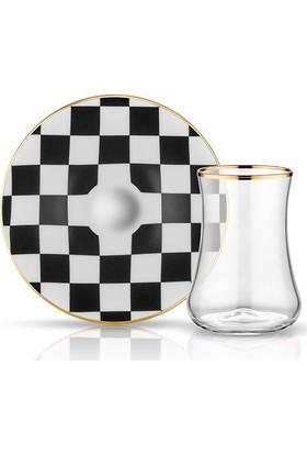 Koleksiyon Dervısh Çay Set 6'Lı Dama Siyah Beyaz