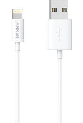 Anker Premium Lightning USB Apple iPhone Şarj/Data Kablosu - MFI Lisanslı Beyaz 0.9m - A7101