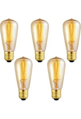 Edison Flemanlı Dekoratif Rustik Ampul 40 Watt E27 5 Adet