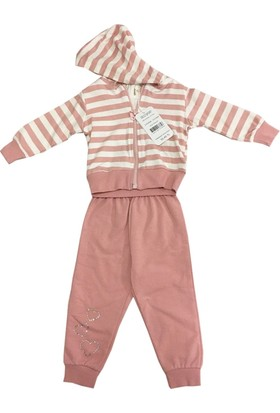 Deco Çizgili Hırkalı Kız Bebek Takımı