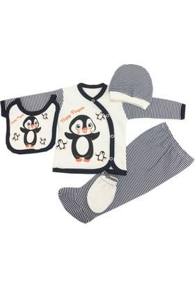 Gülşen Baby Penguen Desenli 5 Parça Zıbın Takımı