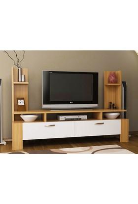 Givayo Ettore Tv Ünitesi Teak-Beyaz 120 Cm