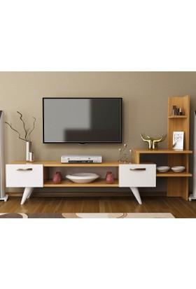 Givayo Sensing Tv Ünitesi 150 Cm Teak-Beyaz