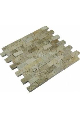 Markataş Light 25X5Cm Fileli Traverten Patlatma Mozaik Doğal Taş
