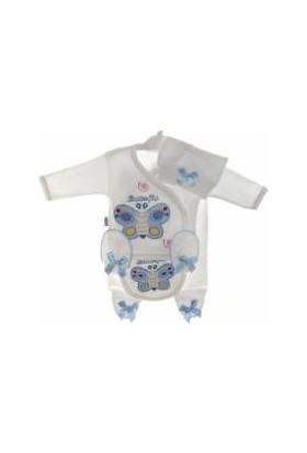 Akyüz Bebe Yumurcak 5 Li Kelebek Erkek Bebek Hastane Çıkışı Zıbın Seti