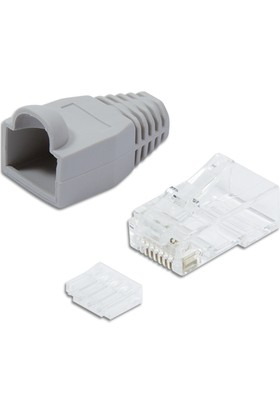 Logilink Mp0023 100 Lü Cat6 Utp Konnektör Modular Plug Gri Kılıflı
