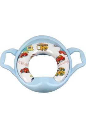 Softy Sünger Dolgulu Bebek Klozet Oturağı Mavi Araba Desenli