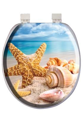 Softy Süngerli Desenli Klozet Kapağı Deniz Kabuğu Desenli
