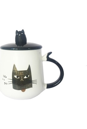 Gogo Kızgın Kara Kedi Kapaklı Seramik Kupa
