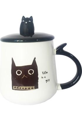 Gogo Şaşkın Kara Kedi Kapaklı Seramik Kupa