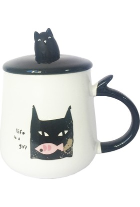 Gogo Obur Kara Kedi Kapaklı Seramik Kupa