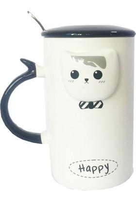 Gogo Kedi Modu Happy Kapaklı Seramik Kupa