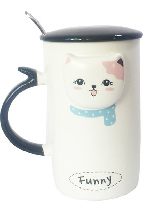 Gogo Kedi Modu Funny Kapaklı Seramik Kupa
