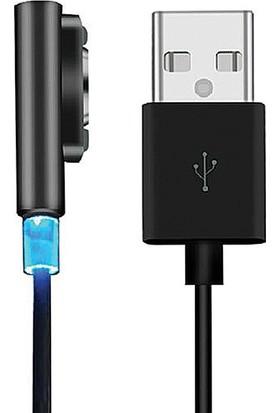 Dark Ledli Sony Xperia Serisi Manyetik Hızlı Şarj Kablosu (Xperia Z1, Z2, Z3 / Compact Z1, Z2, Z3, Z Ultra) - Siyah
