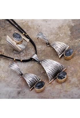 Sümer Telkari Rutil Quartz Taşlı Dövme Tasarım Gümüş Set 1765