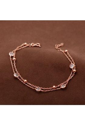 Sümer Telkari Tiffany Zirkon Taşlı Tasarım Rose Gümüş Bileklik 1800