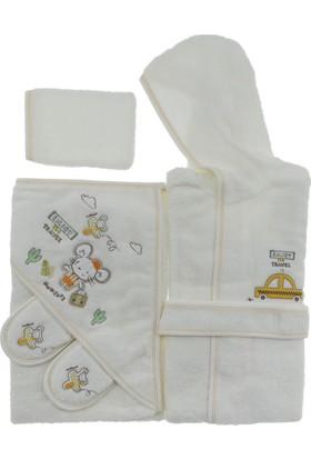 Bebitof 3253 Tatile Çıkan Ayıcıklar Bebek Bornoz Seti