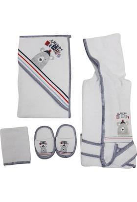 Bebitof 3249 Tüylü Ayıcık Bebek Bornoz Seti