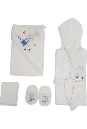Bebitof 3255 Çalışan Ayıcık Bebek Bornoz Seti