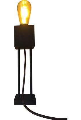 Dokdesign Çıtalı kütük masa lambası E27 Duy Kumaş Kablo