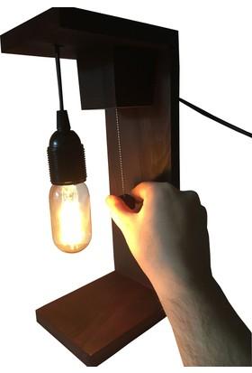 Dokdesign Zincir switch Ahşap Masa lambası E27 duy