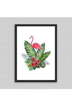 Watercolor Flamingo Çerçeveli Poster