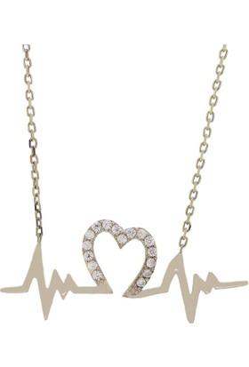 Denz Takı 925 Ayar Kalp Ritmi Gümüş Kolye