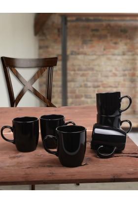 Keramika 6 Adet Bulut Kupa 9 Cm Siyah