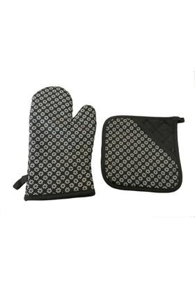 Giz Home Lüx Silikon Mutfak Eldiveni Siyah Çıçekli