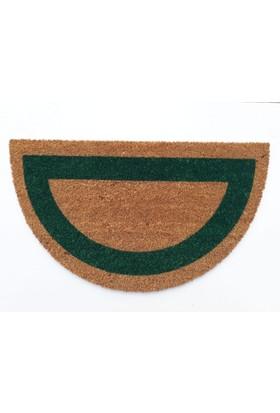Giz Home Koko Kapı Paspası 40X70 Yarımay Bej Yeşil Çerçeveli