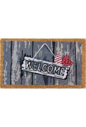 Giz Home Koko Kapı Paspası 40X70 Askılı Welcome Çızgılı Kalp
