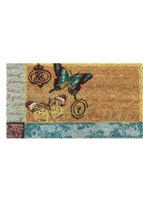 Giz Home Koko Kapı Paspası 40X70 Bej Mavı Kelebek