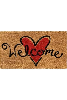 Giz Home Koko Kapı Paspası 40X70 Bej Welcome Kalp