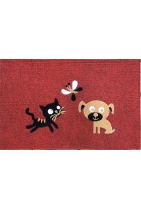 Giz Home Luna İtalyan Kapı Paspası 40X60 Kırmızı Kedı Köpek Kelebek