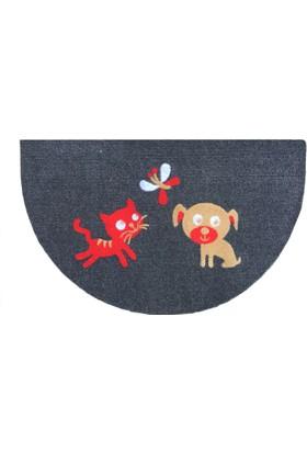 Giz Home Luna İtalyan Kapı Paspası 40X65 Yarımay Gri Kedı Köpek Kelebek