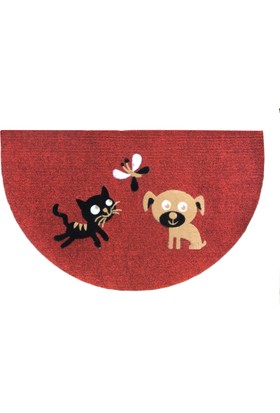 Giz Home Luna İtalyan Kapı Paspası 40X65 Yarımay Kırmızı Kedı Köpek Kelebek